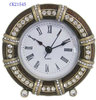 Pewter Vintage Antique Gold Jeweled Crystal Decorative Clock