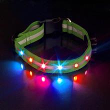 Retractable Dog LED Pet Leashe Collar Robust Nylon Webbing 6 LED Lights