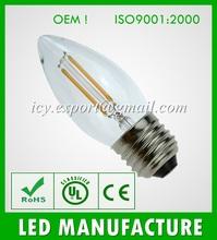 CE RoHS E27 Led 2W. Glass Cover LED filament Bulb