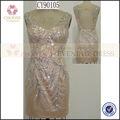 longueur genou robe de soirée de bal sexy couleur champagne