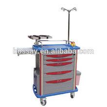 ABS Emergency Trolley/Hospital nursing cart/Plastic trolley cart