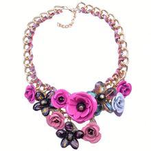 Fashion Alloy Statement Necklace,Zipper Flower,Brazilian Jewelry