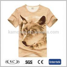 cheap hotsale man brown t-shirts with 3d animal print