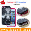 For iPhone 5/5S PC+Silicone Mobile Phone Case with Water Transfer Printing