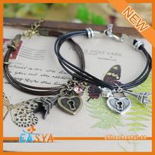 Alloy bracelets for man bio magnetic leather bracelet With heart pendants