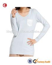 Luxury fashion desifgn popular casual cotton lady t-shirt