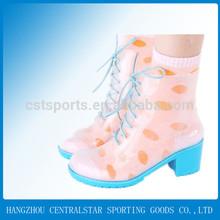 Women pink high heel good cheap pvc rain transparent boot