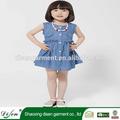 venta al por mayor casual botón recoger cintura jeans de lujo punto blanco vestido de las niñas en la acción