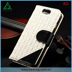 Free Sample!!!2014 Stylish Knit Lines Genuine Leather Case Bag for iphone 6/ 6g, Wallet Case for iphone 6