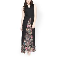 Latest design women black woven sleeveless V neck Indian floral printed maxi dress