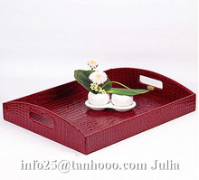 Hotel/home leather/PU tray, beverage tray,storage box decorative