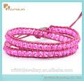 2014 venta caliente el más barato de promoción de regalo al por mayor de cuarzo rosa de cristal brazalete de cuentas