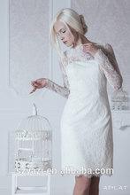 MZ-185 Elegant Lace Sexy Short Mini White Wedding Dress Short Simple Long Sleeve Wedding Dress