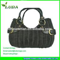 Pure black color plain pattern handwoven rattan beach bag
