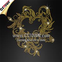Floral Gold Heart Custom Hot fix Rhinestone Applique Designs