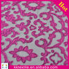 Geometric pattern satin laser embroidery 100% polyester mesh dress lace fabric/dress embroidery fabric