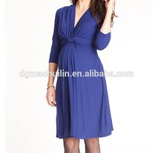 custom maternity clothing v neck half sleeve knitting pregnant evening dress