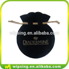 Custom velvet jewelry bag with gold logo small round drawstring velvet pouch bag