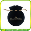 Custom velvet jewelry bag with gold logo small round drawstring velvet pouch bag