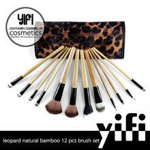 Makeup brushes manufactures china! YIFI Cosmetics leopard makeup bag wood handle brushes makeup
