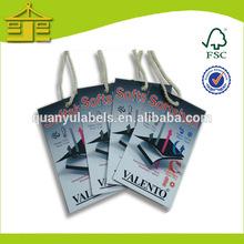 paper hang tags/folded hang tag/ hole punch hang tag with string