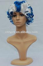 short white curly dark blue cosplay wig wholesaler
