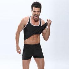 Simple design Pure black color white shoulder girdle tank top men