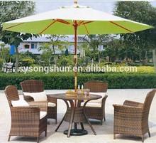 Double Pulley Outdoor Wood Garden Furniture umbrella