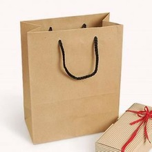 Custom Brown Kraft Paper Whole Foods Shopping Bags with String Handle
