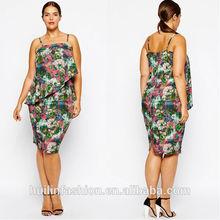 2015 wholesale halter chiffon double layer floral print women clothing plus size dress