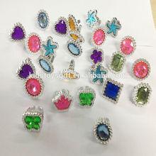 Shaped gem stone rings/kids plastic ring toys