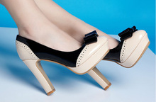 Elegant ladies bow decorated high platforms heels pumps shoes women's party wear thick heels shoes girls high heels