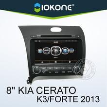 IOKONE OEM 8'' kia forte car dvd player , kia forte car stereo with phonebook ipod , wifi , gps , ATV
