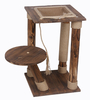 Kitty cat scratching post tree with solid wood bed