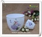 garden ceramic flower planter with fairy painting