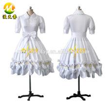 White Ruffles Short Sleeves Cute Bow Fancy Women Gothic Lolita Tea Meeting Dress Sexy Female Lolita Dress