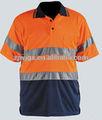 Winki alta visibilidad reflectante de seguridad de la camisa de polo, Naranja y azul
