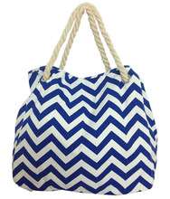 Deluxe Heavy Duty Chevron Print Straw Look Cotton Canvas Beach Tote Bag (blue)