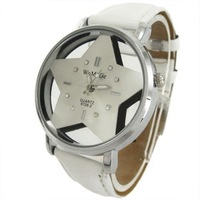 Pentagram Star Quartz Leather Wrist Watch Women Ladies Girls