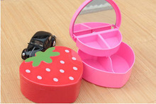 New promotion heart shape cosmetic case ,beauty jewelry organizer case 2015