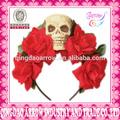 rojo rosa del cráneo banda para la cabeza de la flor del pelo accesorio traje de día de los muertos de halloween