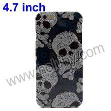 Black & White Flowered Soft TPU Cheap Skull Case for iPhone 6 Cover