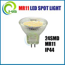 2014 hot sale 24smd /cob IP44 dimmable GU10 MR11 LED Spot, 24smd ip44 mr11 mr 16 led lights 12v