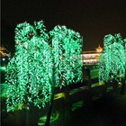 Factory price christmas decoration outdoor artificial green willow tree with led for yard LED weeping willow tree lighting