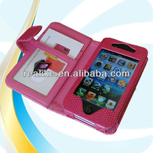 good after-sales service colorful folio small magnet with card slots leather wallet case for iPhone 4 4S
