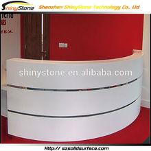 Designer white embowed shaped front desk design solid surface/artificial marble clothes shop decoration