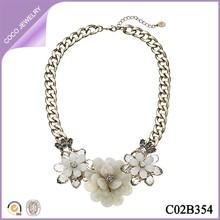 chunky curb chain rhinestone flower collar