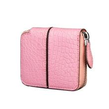 Fashion Genuine Crocodile Alligator Leather Woman Credit Card Wallet Coin Purse Pink