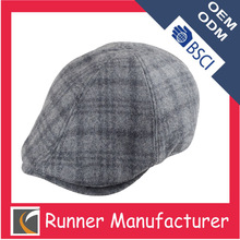 Wholesale hot sale high quality tweed men ivy cap promotional flat cap