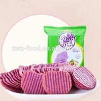 Baked sweet potato chips made of purple potato flakes
